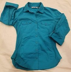 Signature Larry Levine size S teal women top Button Down Blouse long roll sleeve