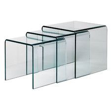 3 Piece Nest of Tables with Cascade Bent Clear Glass Top