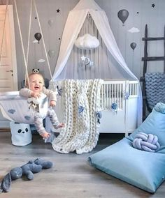 Kleinkindzimmer in grau & blau - Chambre Bebe Fille - Baby Room Furniture, Baby Boy Room Decor, Baby Room Design, Baby Bedroom, Baby Boy Rooms, Baby Boy Nurseries, Nursery Room, Room Baby, Bed Room
