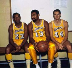 Elgin Baylor, Wilt Chamberlain, and Jerry West of the Los Angeles Lakers pose before a Oct. 1970 practice. (Darryl Norenberg/WireImage)  GALLERY: Iconic Photos of the Los Angeles Lakers | Rare Wilt Chamberlain Photos