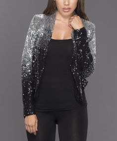 Black & Silver Sequin Bolero Jacket