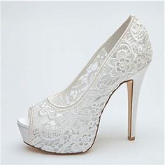 Women's Wedding Shoes Heels/Peep Toe/Platform Heels Wedding Black/Pink/Ivory/White – USD $ 44.99