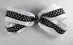 White and Black Polka Dots Grosgrain Hair Bow - $8.20