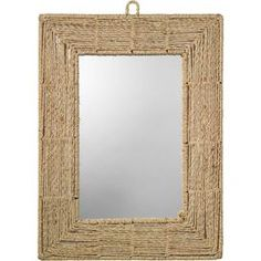 """Rectangular wall mirror with a natural jute frame.          Product: Wall mirror  Construction Material: Natural jute and mirrored glass   Color: Natural   Features:     5"""" Wide rope border  Brings outdoor appeal indoors  Nautical style      Dimensions: 33"""" H x 25.5"""" W x 1"""" D"""