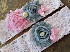 Pink and gray wedding garter bridal garter set. by GoldcoastChic