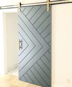Sliding Barn Door Track, Wooden Sliding Doors, Wood Doors, Sliding Door Design, Deco Design, Wall Design, House Design, Design Design, Door Design Interior