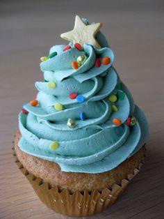 Cupcakes de árbol de navidad
