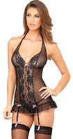 Rene Rofe Women's 2Pc Lace and Bows Garter Halter Chemise and G-String Set