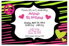 NEON Peace Sign Birthday Invitation. $10.00, via Etsy.