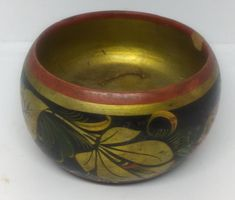 """Vintage Khokhloma wooden small Bowl Hand Painted Russian Lacquer ware Strawberries wonderful small but beautiful piece of wood, a masterpiece that Russia has known for decades, 1.5"""" in length and 2.5"""" in diameter tells the stories of those ages Increase your home beauty and shine distinctive gift to your friendsFeel free to buy really worthPlease see the pictures wellThanks for visiting my store And I hope good business will continue between us"""""""