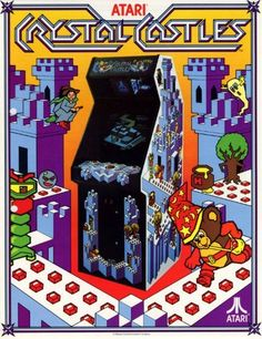 """An arcade flyer for """"Crystal Castles,"""" a whimsical action arcade game featuring Bentley Bear, released by Atari in 1983"""