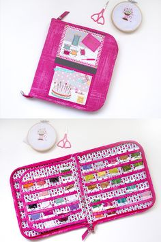 "Bright organizer with sewing print for 88 pcs floss bobbin cards closed on zipper. ------------------------------------------------- Measures approx: opened 19""x10""/ 47x26 cm closed 8.7""x10""/22x26 cm vinyl pockets for bobbins - 1.4""x2""/3.5x5 cm Each clear vinyl pocket is the perfect size for embroidery floss thread bobbins."