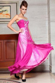 Elegante Vestido de Noche Sin Tiantes Hecho a Mano con Largo al Piso (Envío Gratuito)