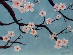 This cherry blossom painting was very easy to create. Finish with acrylic. - This cherry blossom painting was very easy to create. Finish with acrylic. This cherry blossom painting was very easy to create. Finish with acrylic. Simple Canvas Paintings, Easy Canvas Art, Small Canvas Art, Easy Canvas Painting, Acrylic Canvas, Painting & Drawing, Easy Acrylic Paintings, Canvas Ideas, Painting Abstract