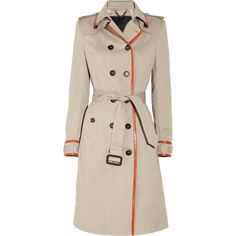 Burberry Prorsum Leather-trimmed cotton-gabardine trench coat (5.150 BRL) ❤ liked on Polyvore featuring outerwear, coats, jackets, coats & jackets, burberry, cotton trench coat, double breasted belted coat, leather trim coat, gabardine trench coat and pink coat