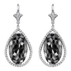 Neil Lane ~ oval faceted black diamond and platinum earrings