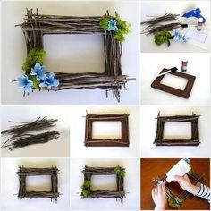Idees-photo - DIY v - Dekoration Cool Picture Frames, Rustic Picture Frames, Picture Frame Decor, Rustic Frames, Twig Crafts, Frame Crafts, Diy And Crafts, Christmas Arrangements, Teen Room Decor