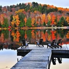 Wooden Dock on Autumn Lake, Canada by Elena Elisseeva Beautiful Homes, Beautiful Places, House Beautiful, Beautiful Pictures, Pretty Photos, Porches, Autumn Lake, Autumn Cozy, Hill Interiors