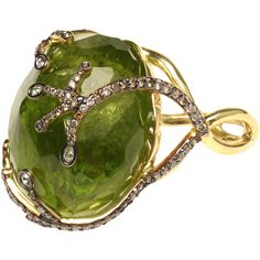 Large Peridot and Diamond Ring ($17,885) ❤ liked on Polyvore featuring jewelry, rings, accessories, green, jewels, 18 karat gold ring, peridot diamond ring, peridot band ring, diamond jewelry and band rings