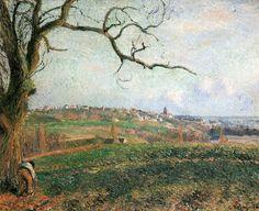 """Camille Pissarro (1830-1903) ~ """"Pontoise, Vue sur la Ville"""", 1884 ~ Huile sur Toile 59 x 73 cm ~ Collection Privée"""