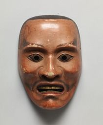 Noh mask, Heita (a warrior), one of 47 Noh masks formerly owned by Konparu Sōke (the leading family of the Konparu school), Wood, colored Muromachi-Meiji period/15-19th century Originally owned by Konparu-za Tokyo National Museum.
