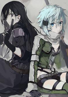 Kirito and Sinon. Sword Art Online. SAO. Gun Gale Online. GGO.