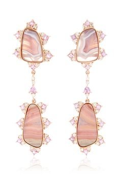 Shop Agua Nueva, Inca Agate, Pink Sapphire and Diamond Earrings. Rendered in rose gold, these unique **Laura Pierson** earrings feature agua nueva and inca agate encrusted with glistening diamonds and pink sapphires. Druzy Jewelry, Gemstone Earrings, Gold Jewelry, Fine Jewelry, Gold Earrings, Sapphire And Diamond Earrings, Sapphire Jewelry, Diamond Jewelry, Inca