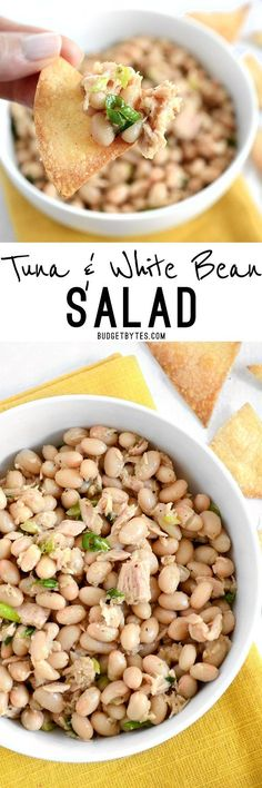 This Tuna and White Bean salad is mayo-free, but big on flavor. Whip up this salad in minutes to satisfy your hunger and tastebuds. BudgetBytes.com