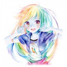 #Anime Rainbow Dash  Mommmmmmmmmmm I see avatar again XDDDDDDDDDDDDDლ(◉◞౪◟◉ )