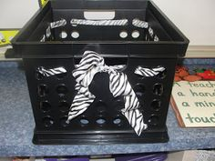 zebra classroom decorations - Google Search...or any ribbon on a crate for that matter :-)