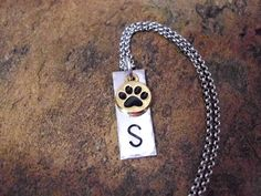 Paw Print Necklace, Dog Jewelry, Cat Jewelry, Personalized Jewelry, Animal Jewelry, Pet Jewelry, Pet Loss, Pet Memorial, Gold Paw Print by CharmAccents on Etsy
