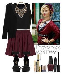 """Photoshoot with Demi"" by lovatic92 ❤ liked on Polyvore featuring Estée Lauder, Monki, Topshop, Yves Saint Laurent, OPI, rag & bone, Aerin Erickson Beamon, Smashbox, DemiLovato and TeenVogue"