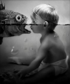 Swimming lesson, Photo Manipulations by Akşam Gunesi - 50 Inspiring Examples of Water in Art  <3 <3
