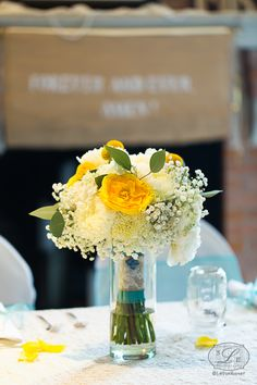Bridal Bouquet. Yellow Roses, Baby's Breath, Billy Buttons, White Football Mums, Eucalyptus