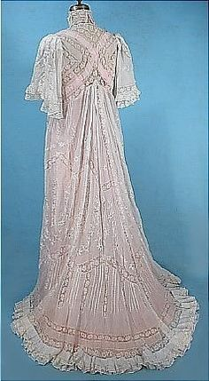 Belle époque, Back View of Lace Tea Dress over Pink Lining