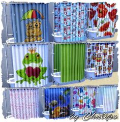 Shower curtains and rugs by Chalipo at All 4 Sims via Sims 4 Updates