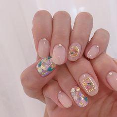Nail Inspo / Fun festival n a i l s Pink nail polish / nail decorations / OPI pink shade / round nai Nail Art Cute, Cute Nail Art Designs, Cute Nails, Pedicure Designs, Essie, Korean Nail Art, Korean Nails, Pink Nail Polish, Opi Pink