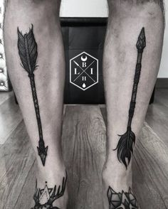 Blackwork Arrow Tattoos by Manuel