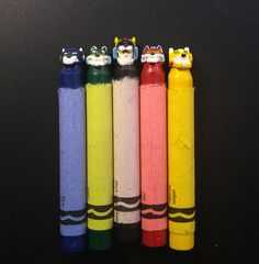 """- Inspired by Voltron: Legendary Defender - Set of 5 with Wall Mounts - Sculpted Crayon and Crayon Wax - Approximately .5"""" x 3.5"""" each - Signed Originals DreamWorks Voltron Legendary Defender © 2016 D"""