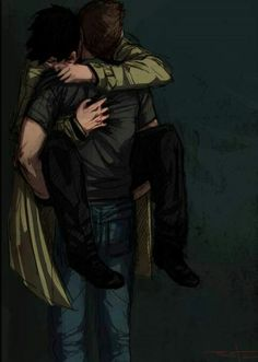 """Omg this is my FAVORITE Destiel fanart so far it's just SO PERFECT OMG. aND HAVE YOU GUYS HEARD """"Hey There, Dean"""" it's a Destiel song (parody of Hey There Delilah) and it mentions the pizza man from that one episode in season 6 and it's perfect too so go watch it NOOOOOOW!!!!"""