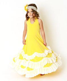 Yellow & White Ruffle Tiered A-Line Dress - Toddler & Girls #zulily #zulilyfinds