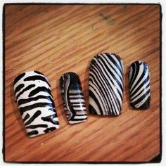 #zebra #nails #nailart #gelnails #watermarbled #nails #gelnails #handpainted #zebraprint #blackandwhite