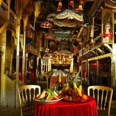 "London's Sarastro restaurant - quirky restaurant in the theatre district. Designed to look like an old theatre with kooky entertainment including opera. Seen on Travel Channel. ""The show after the show"""