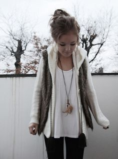 Sweater and fur vest