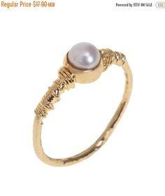 SALE Alternative engagement ring, 14K Gold Filled Classic Engagement Pearl ring, 14K Gold plated pearl ring, bridesmaids ring