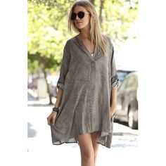 V-neck shirt Mini dress with handkerchief hemline, button up sleeves Grey