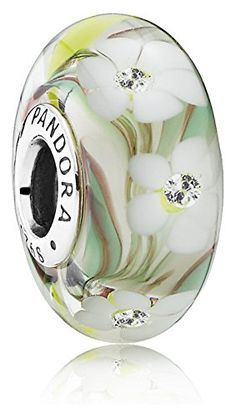 #Pandora Wild Flowers Charm - Sterling Silver & Murano Glass!