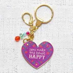 Glitter & Gold Key Chains Heart Happy