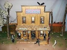 Image result for western back yard House Plans For Sale, Doll House Plans, Best Doll House, Minis, Old West Saloon, Miles City, Dodge City, West Art, Bird Houses