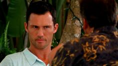 """""""Probably wasn't a birthday present. Looks like he was dishonorably discharged."""" [Michael] Pictured: Michael Westen (Jeffrey Donovan) and Sam Axe (Bruce Campbell)"""